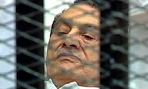 Hosni Mubarak in court for his trial in Cairo in 2011.