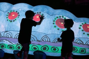 The caterpillars represent their interpretation of the Yeperenye Dreamtime story, which tells that giant caterpillars emerged from the ground and created the west MacDonnell Ranges.