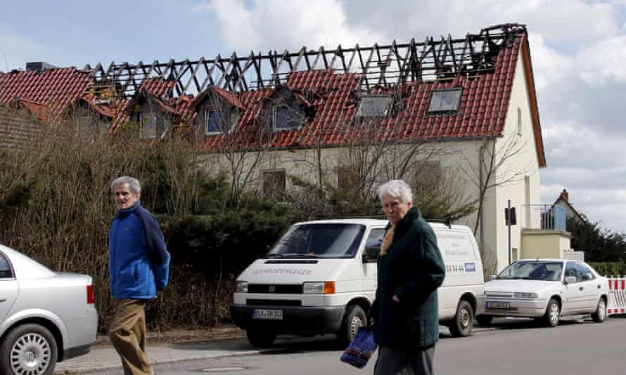 A building damaged by a fire that was intended to house asylum-seekers in Tröglitz, eastern Germany.