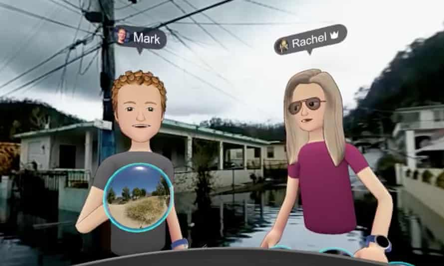 A cartoon Zuckerberg, with Facebook's head of social virtual reality, Rachel Franklin, on a flooded street. 'One of the things that's really magical about VR is you can get the feeling you're really in a place.'