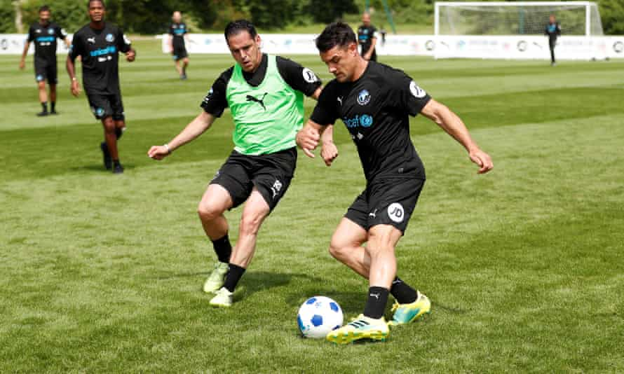 Dan Carter trains ahead of Sunday's Soccer Aid match.
