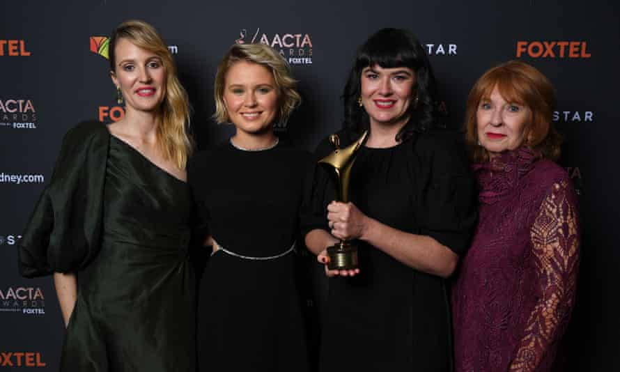 Shannon Murphy, Eliza Scanlen, Alex White and Jan Chapman pose with the award for Best Film at the 2020 AACTA Awards at The Star in Sydney