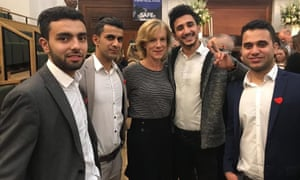 The young refugees with the actor Juliet Stevenson at a Safe Passage event to mark the 80th anniversary of the Kindertransport.