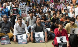 A protest in Delhi over the killing of journalist Gauri Lankesh