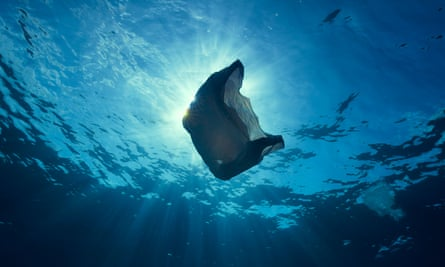 Still from Blue Planet II showing a plastic bag floating in the ocean