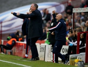 Stoke's new manager Michael O'Neill celebrates his team's first goal.