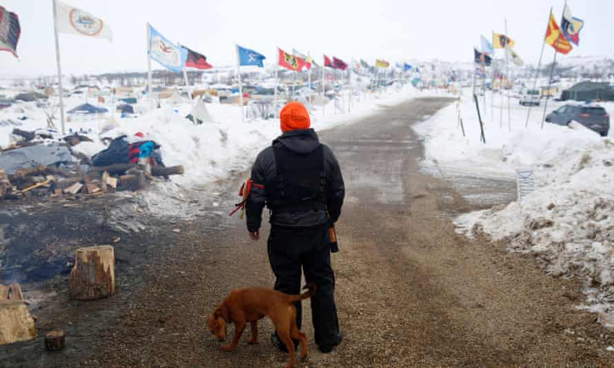 Dogged protest: a volunteer at the Standing Rock protest.