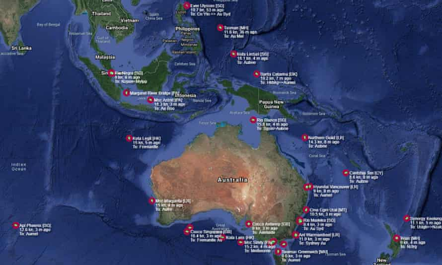 Patrick Terminal map purporting to show 40 ships off the Australian coast waiting to come into port