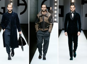 GIORGIO ARMANIClocking in at 93 different looks, this was a heavyweight collection. The focus was on tailoring with a gamut of styles from blazers and workwear suits to shawl collar eveningwear in velvet. A more relaxed style came with bomber jackets and cuffed trousers, some in velvet. Special mention goes to several convincing faux fur coats (Armani has been a fur free brand since 2016 when it abolished the use of real fur in all its collections.)