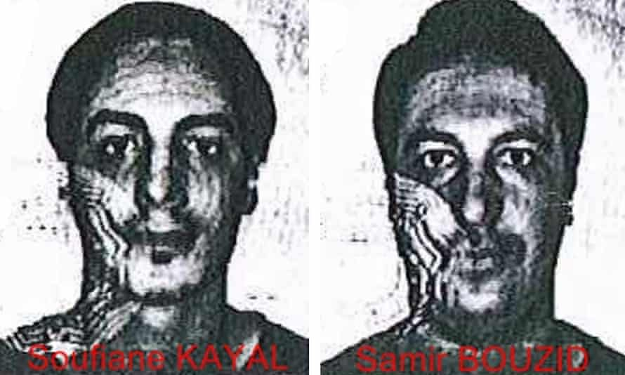 Images from the fake identity cards of the two suspects