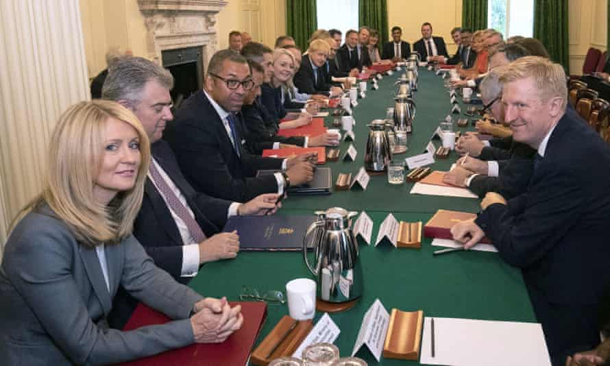 Boris Johnson, centre left, holds his first cabinet meeting on Thursday