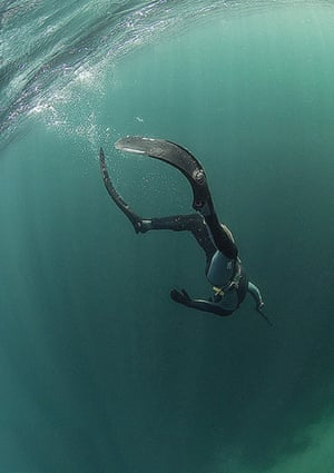 Free diver.Sean free diving off Inis Turk, Connemara Photograph: Danygraig400/GuardianWitness