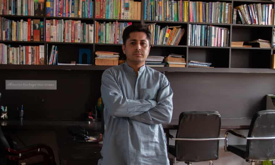 Zulqarnain Mengal in his office-cum-library at home in Quetta