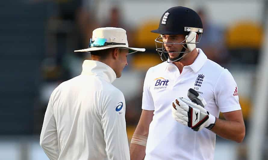 Jimmy Anderson (right) and Michael Clarke exchange words during the first Test at the Gabba in 2013.
