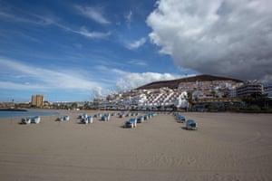 A closed beach in Arona, Tenerife.