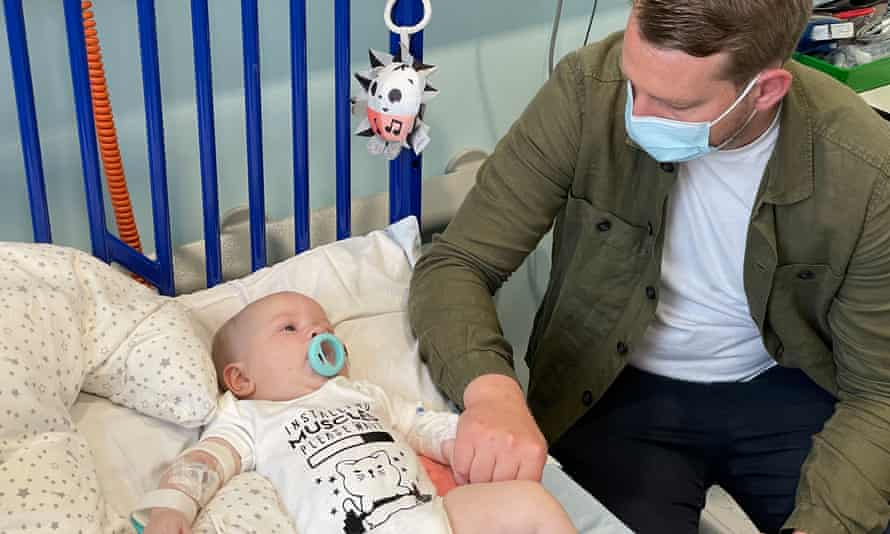 Arthur Morgan with his father in Evelina London children's hospital where he received gene therapy for spinal muscular atrophy.