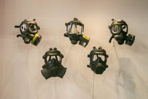 Gas masks are displayed at the DSEI, the world's leading defence and security event, which brings together hundreds of international arms and defence exhibitors at the Excel centre in London's docklands.