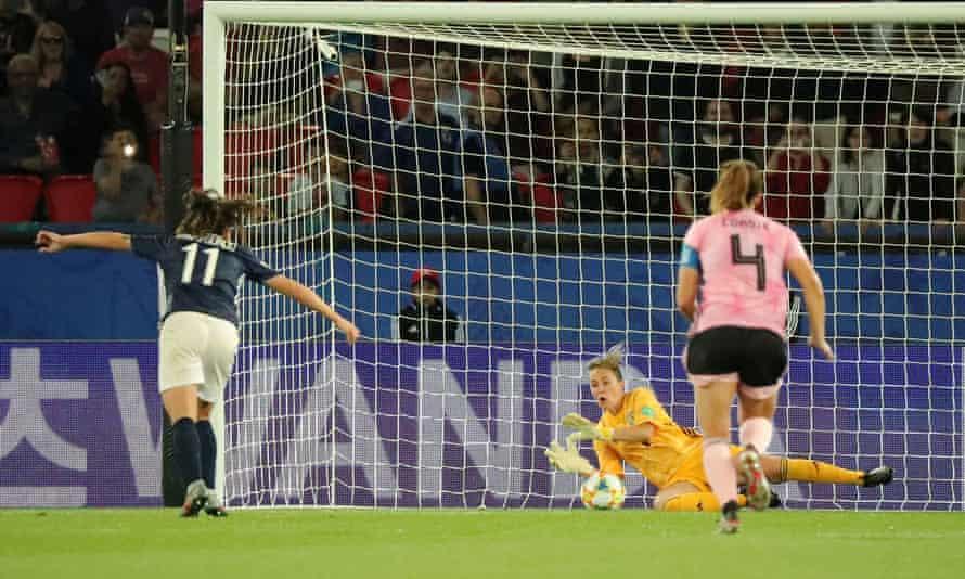 Scotland's Lee Alexander saves Argentina's Florencia Bonsegundo penalty