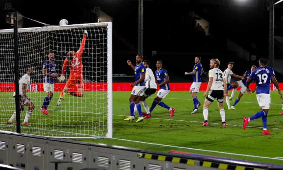 Marek Rodak makes an incredible save from a shot by Will Vaulks of Cardiff City.