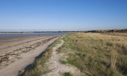 View of sand dunes and beach habitat Montmartin-sur-mer Manche Normandy France