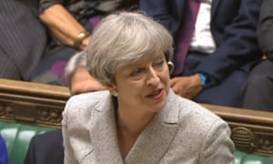 Theresa May speaking in the House of Commons in its first sitting after the election.