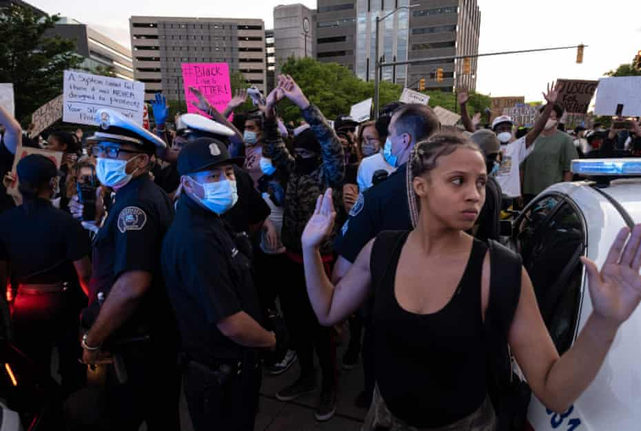 Protesters at a demonstration in Detroit, Michigan.