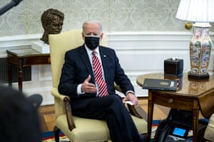 President Joe Biden meets with a group of labor leaders to discuss coronavirus relief legislation.