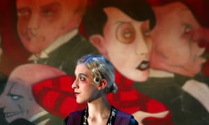 Close to here, now … a picture of Grand Hotel at the Donmar Warehouse, showing actor Hattie Bayton in front of a backdrop based on a George Grosz painting.