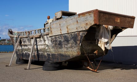 A wooden boat, believed to be from North Korea