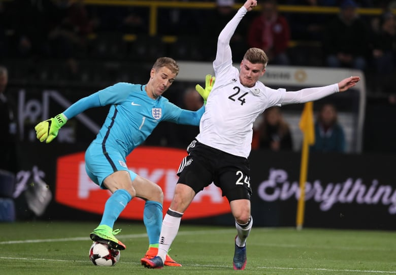 Hart performs a Cruyff turn under pressure from Werner.