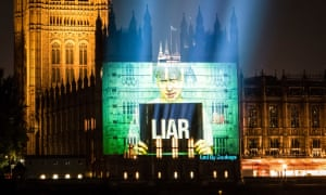 Projection on to the Houses of Parliament, 10 September, 2019, after Johnson threatened to disobey the law preventing a no-deal Brexit.