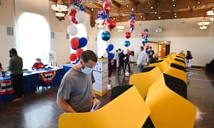 Californians cast their ballot in the recall election at a polling station in Beverly Hills.