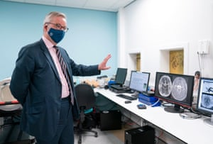 Michael Gove, the Cabinet Office minister, on a visit to the Queen Elizabeth university hospital teaching campus in Glasgow