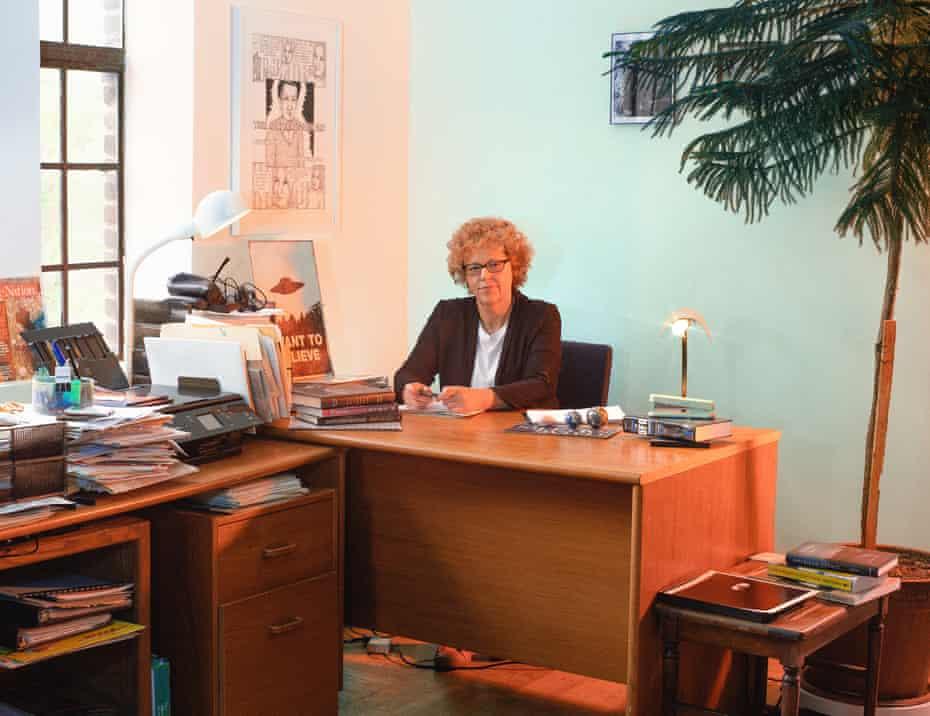 Leslie Kean at her desk.