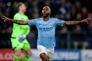 Raheem Sterling of Manchester City celebrates after giving the visitors the lead .
