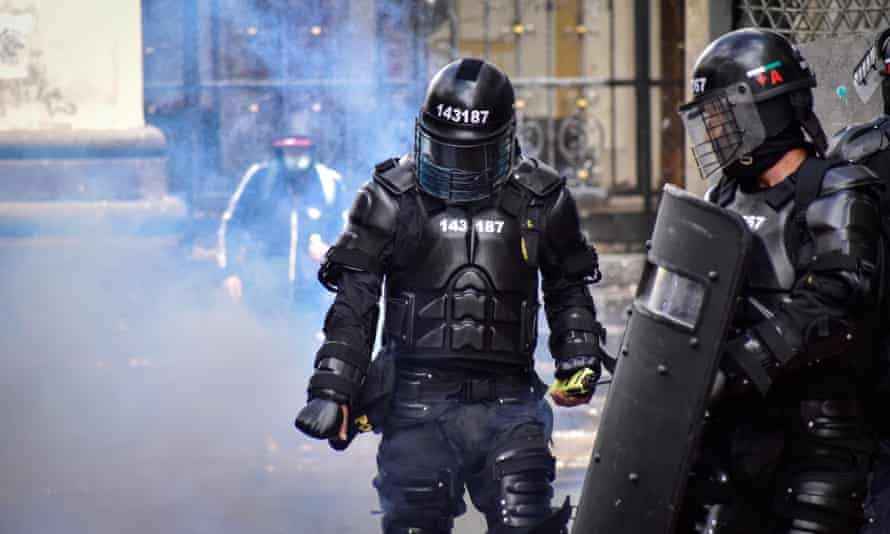 Riot police in Pasto, Nariño, Colombia, on 5 May.