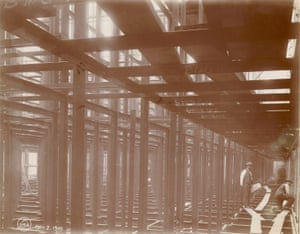 Interior work : structural framework. Central building of the New York Public Library, 1905