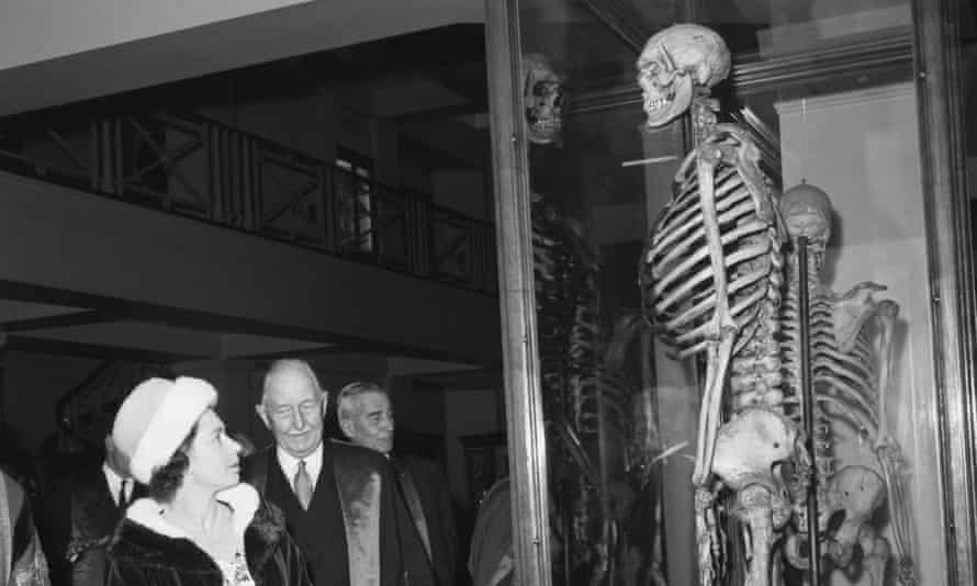 The Queen looks at the skeleton of Charles Byrne on a visit to the Hunterian Museum, London, in 1962.