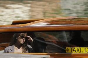 Dakota Johnson arrives at the Venice film festival in Italy