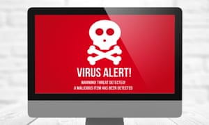 Tech-support scams often begin with a pop-up virus warning that advises the user to call a phone number to receive help.