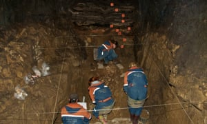 The excavation of the female Neanderthal's remains, in the Denisova cave in the Altai Mountains.