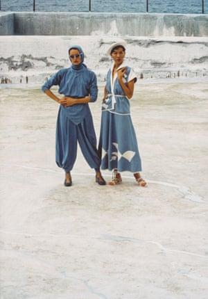 Linda Jackson and Jenny Kee wearing Linda's Bondi Blue and Opera House outfits at Bondi Baths, 1975.