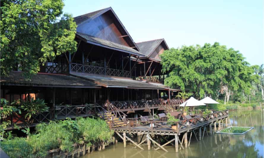 Main restaurant building and sundeck at Sepilok Nature Resort, Sandakan district, Sabah, Borneo, Malaysia.