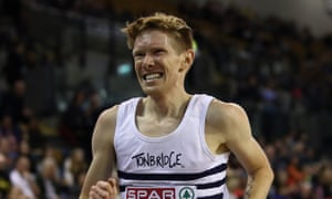 Tom Bosworth in the men's 5000m race walk at the Spar British Athletics Indoor Championships in February 2020.