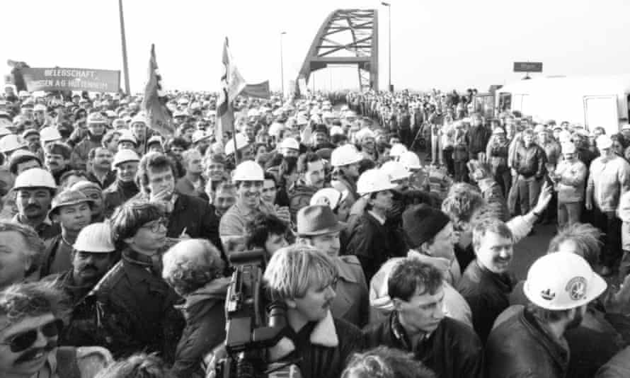 Krupp steelworkers occupying a bridge over the Rhine in 1987.
