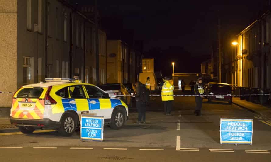 A police cordon at Jeffery Street, Newport