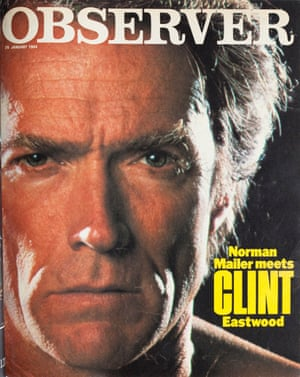 Observer Magazine cover of 29 Jan 1984, with a close-up of Clint Eastwood and the line 'Norman Mailer on Clint Eastwood'