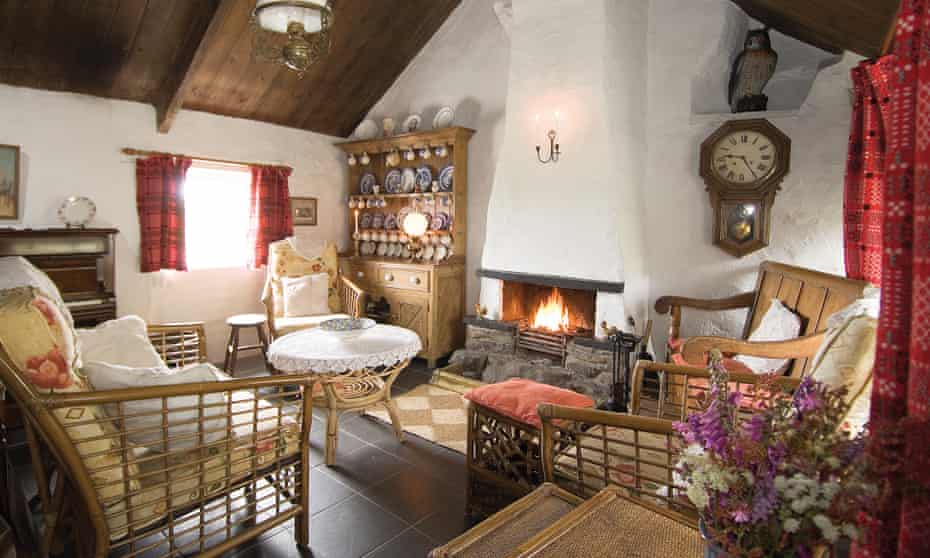 Interior fireplace armchairs dresser