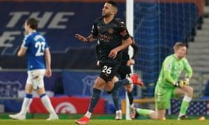 Manchester City's Riyad Mahrez celebrates scoring their second goal.