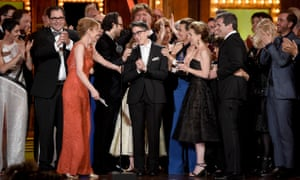 Bechdel with the cast and creative team of Fun Home, which won the award for best musical at the 2015 Tonys.